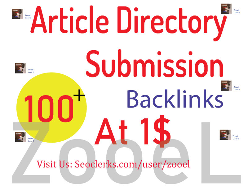 Create 100+ Article Directory Submission backlinks - Top Google Ranking
