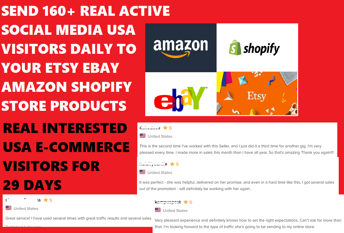 Send 160 plus REAL ACTIVE SOCIAL MEDIA USA VISITORS DAILY to your online store or product