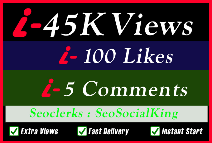 45K World Wide Video Views Promotion Or 100 Likes Or 5 Custom Comments Social media Marketing