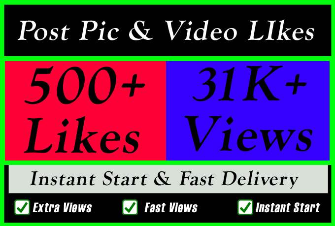 Instant 500 Plus High Quality Social Post Pictures video Promotion and Marketing