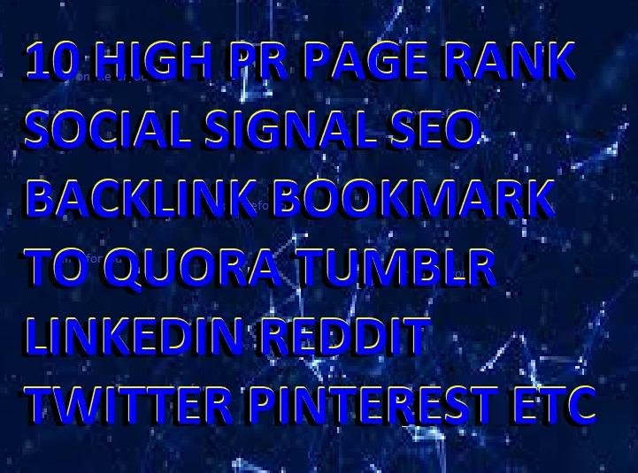10 HIGH PR PAGE RANK SOCIAL SIGNAL SEO BACKLINK BOOKMARK TO QUORA TUMBLR LINKEDIN REDDIT TWITTER PIN