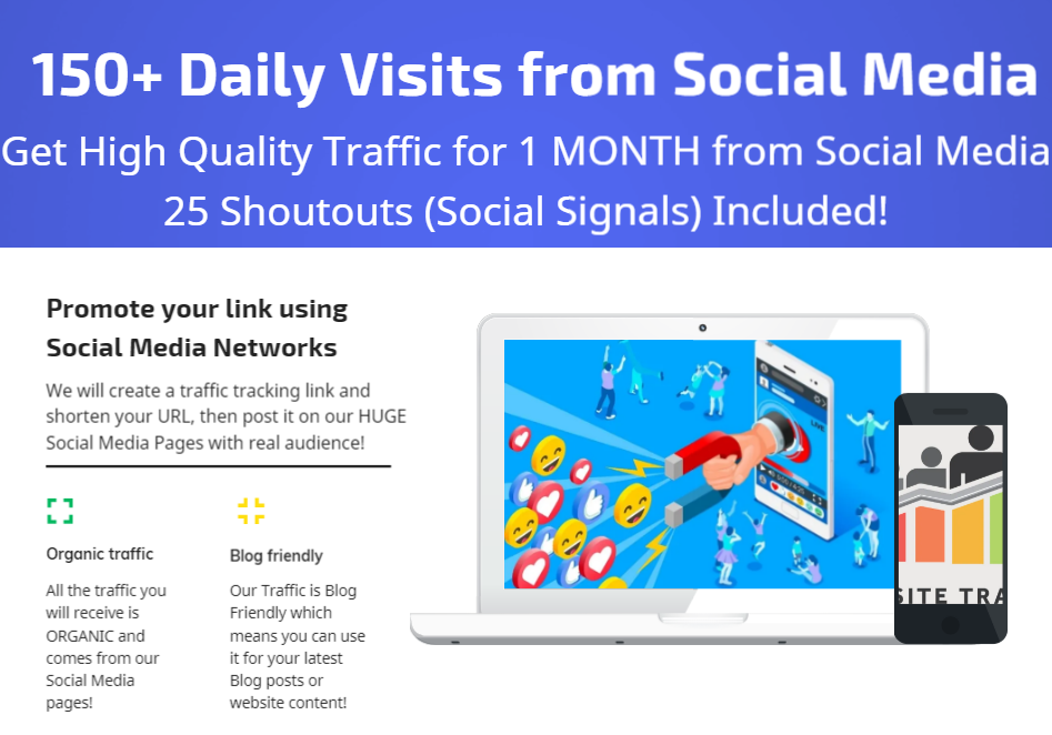 Get 1 Month Traffic with 150+ Daily Visits from Social Media and 25 Shoutout Social Signals