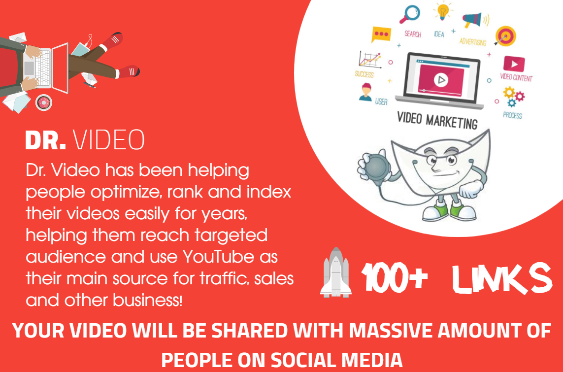 Youtube SEO - 100 Mixed Type Of Links - Fast indexing -Video Embeds,  Social Signals,  Backlinks