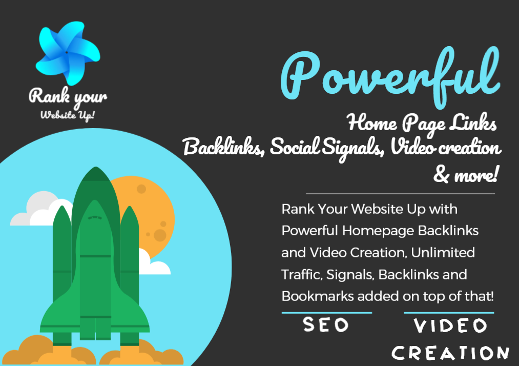 Rank Your Website Up With Powerful Homepage Links, 2000 Backlinks, Social Signals Mix and Traffic