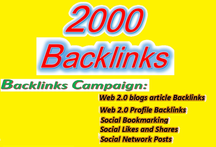 Create 2000 HQ Backlinks through SEO Campaign for your website ranking
