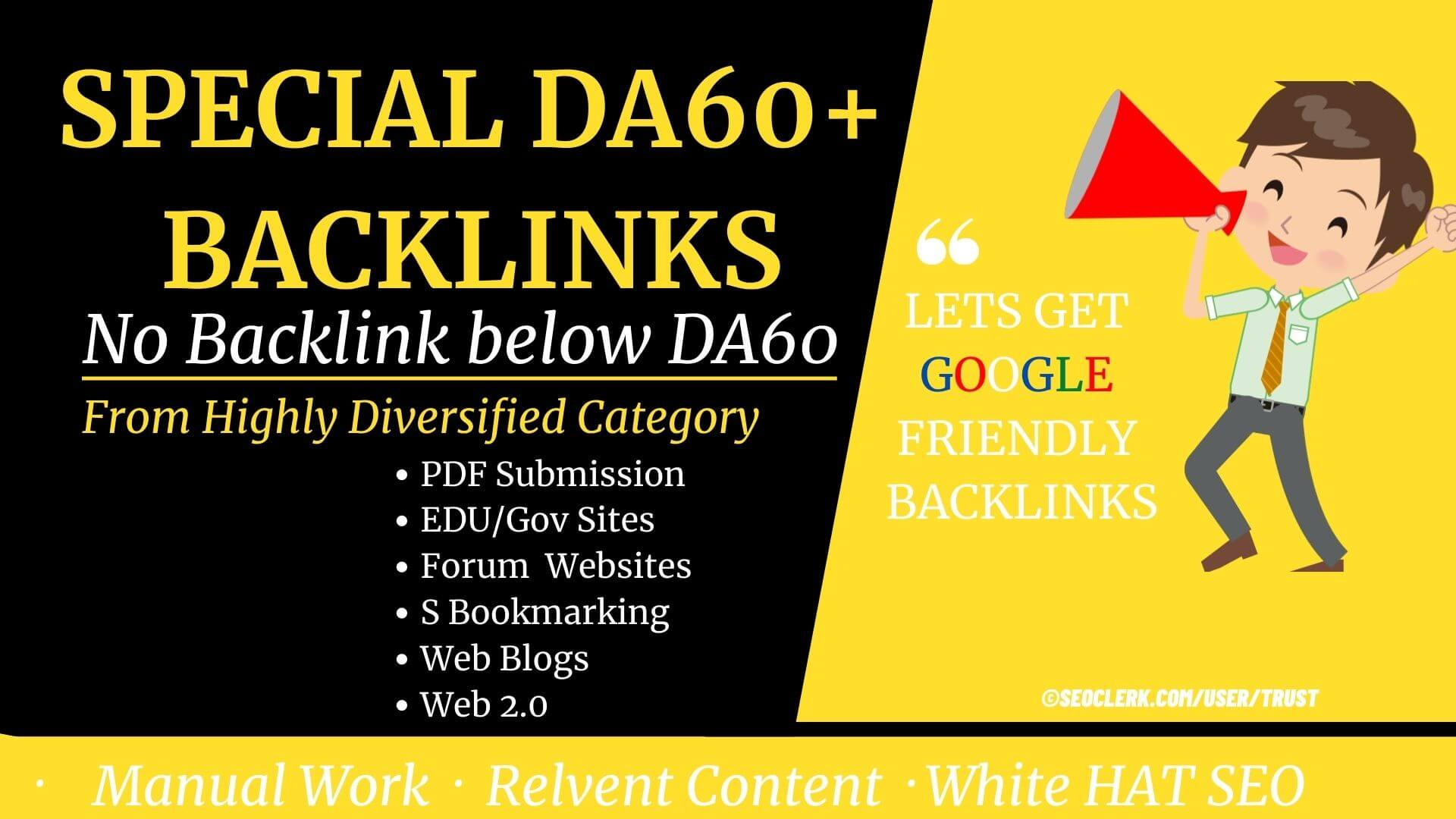 Only DA60+ Backlinks- 103 contextual Backlinks for high competition keyword- High DA PA TF CF sites