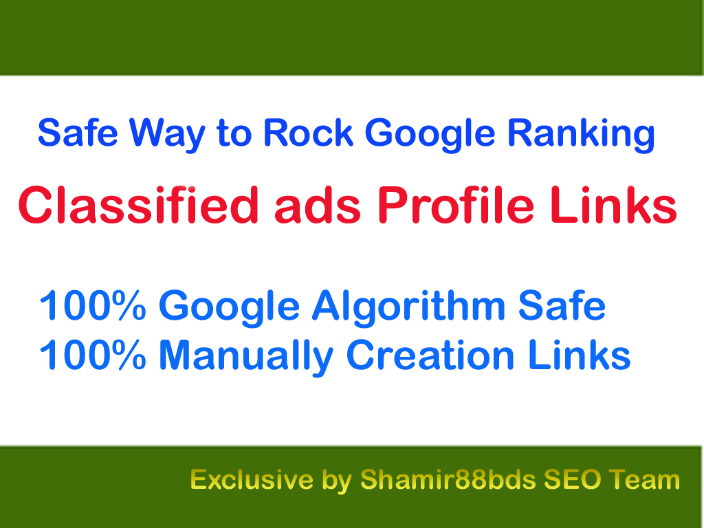Safe 40 Classified ads Profile Links to Rock Google Ranking
