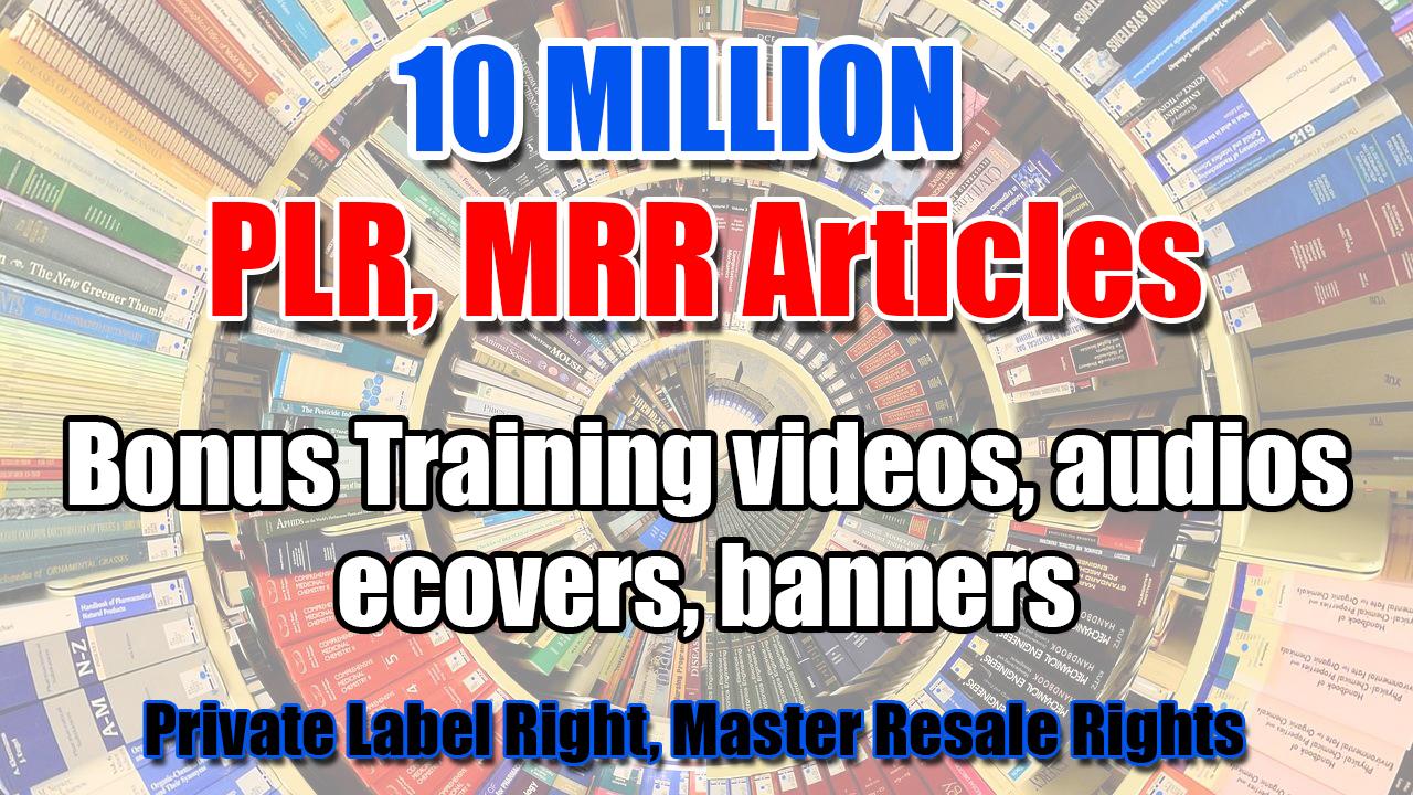 10 Million PLR,  MRR Articles plus tons of bonus