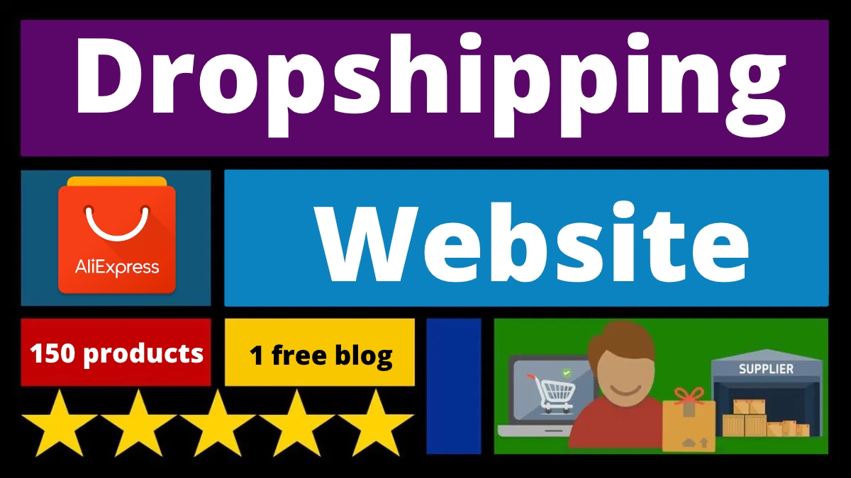 Dropshipping website with 150 products and one blog with 150 posts