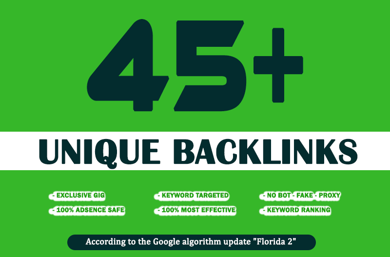 build 45 unique high PR backlinks and trust links