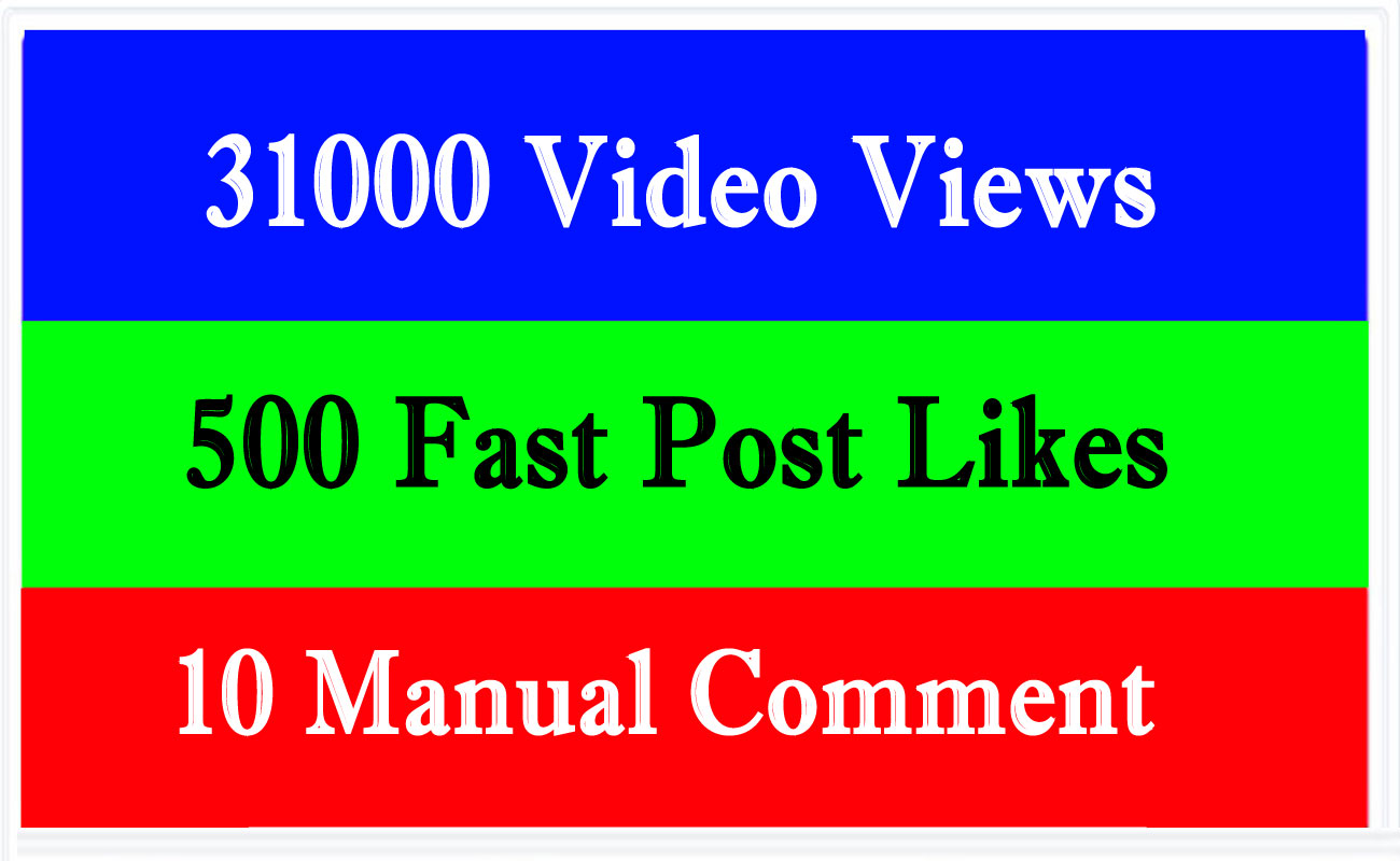 31000+ video views or 500+ Likes or 10 comments Social media promotion