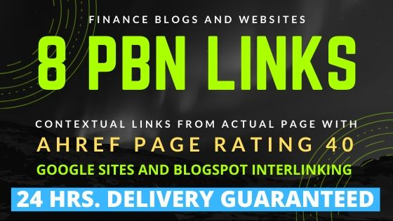 8 High Quality PBN Links - Finance Blogs