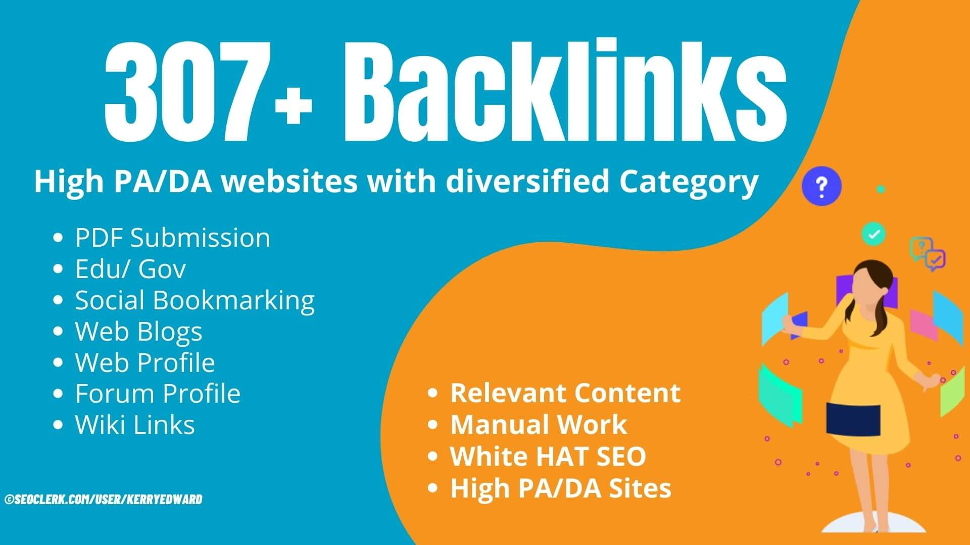 307+ Google friendly backlinks from diversified category to rank first on Google