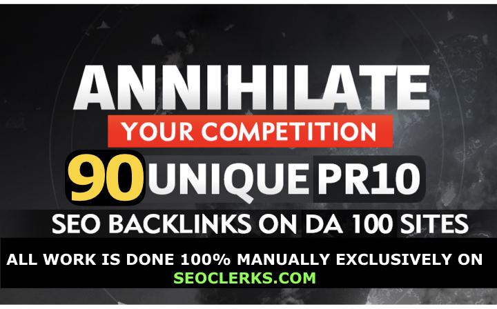 I Will MANUALLY Do 90 SEO Backlinks On DA100 UNIQUE DOMAINS