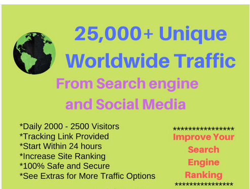 25,000 targeted Unique Worldwide Visitors to Any Link