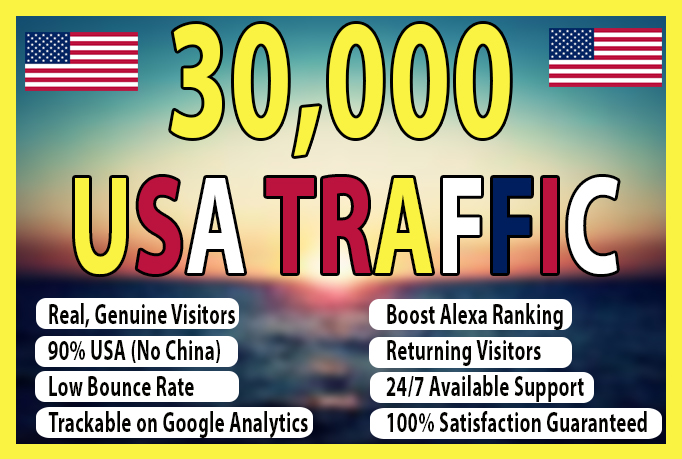 You will get 30,000 USA KEYWORD TARGETTED TRAFFIC FOR ONE MONTH