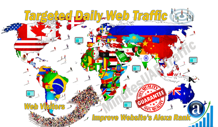 Real web visitors for 30 days with search keyword and target country web traffic
