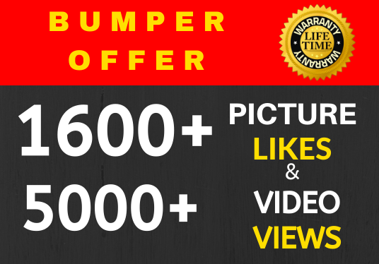 High Quality 1600+ Super Fast Likes & 5000+ Video Views