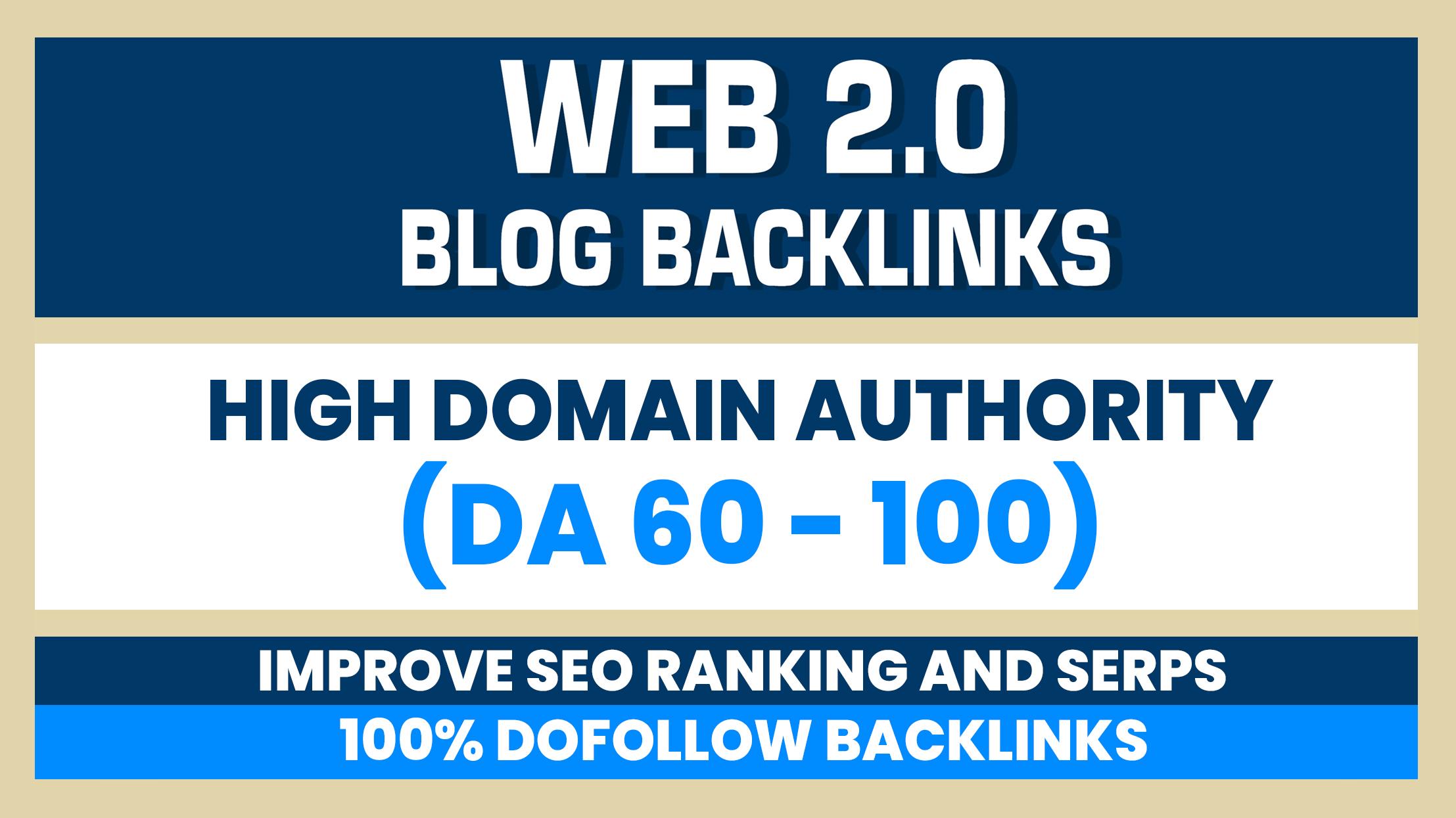 Build 10 Web 2.0 DA 60-100 home page blogs post backlinks