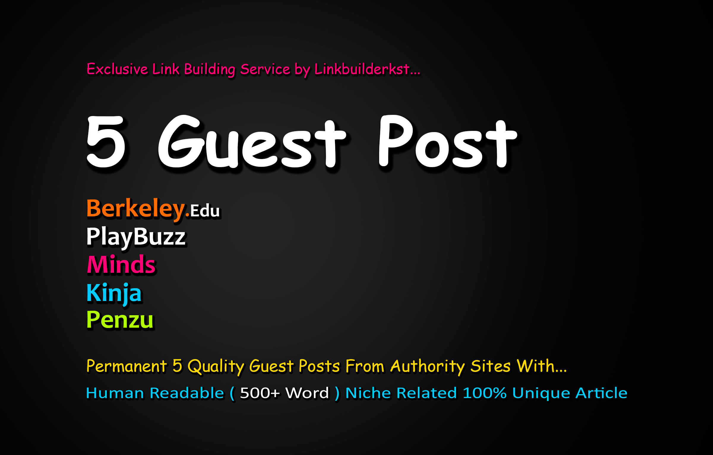 Publish 5X Authority Guest Posts From DA 60+ Unique Platforms