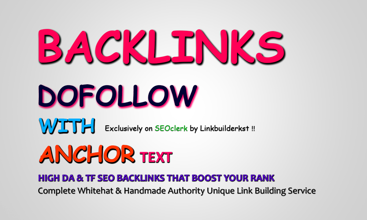 30 Dofollow With Anchor Text Authority SEO Backlinks