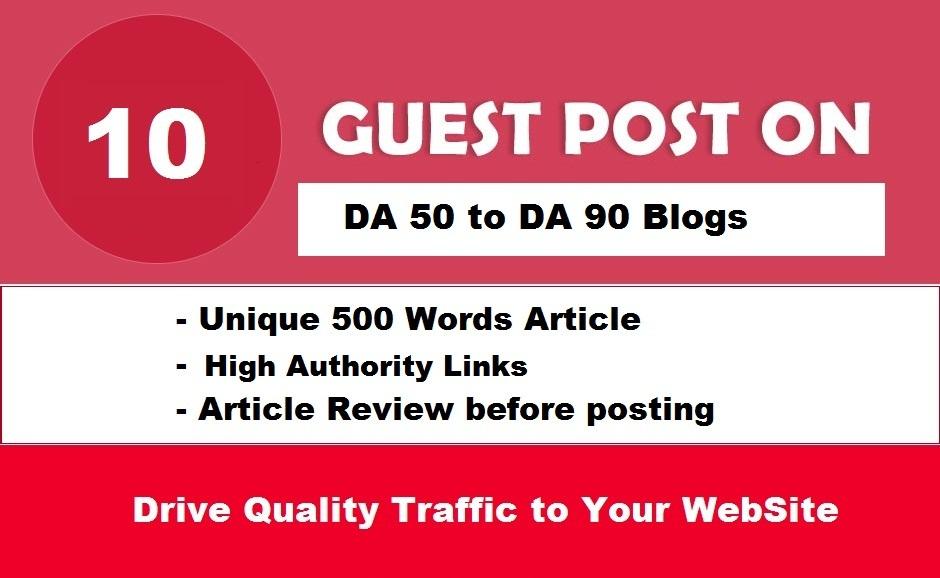 10 Guest Posts Links on REAL DA50-90 Websites -NO PBN