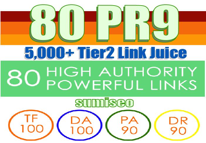 Create 80 PR9 Backlinks DA-100 with 5000 Tier2 Links Easy Link Juice & Faster Index