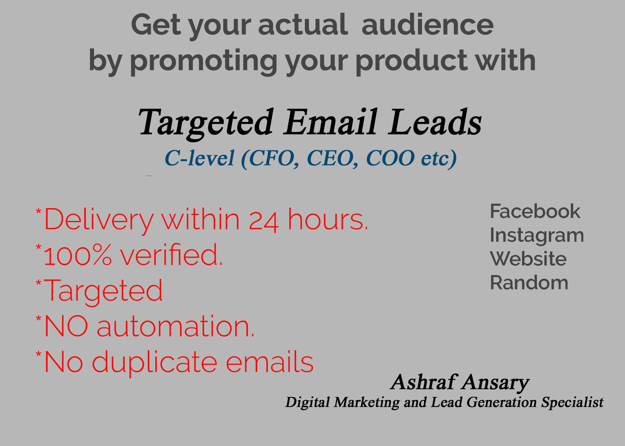 Get your first 100 Targeted CEO,CFO,COO Mail Leads