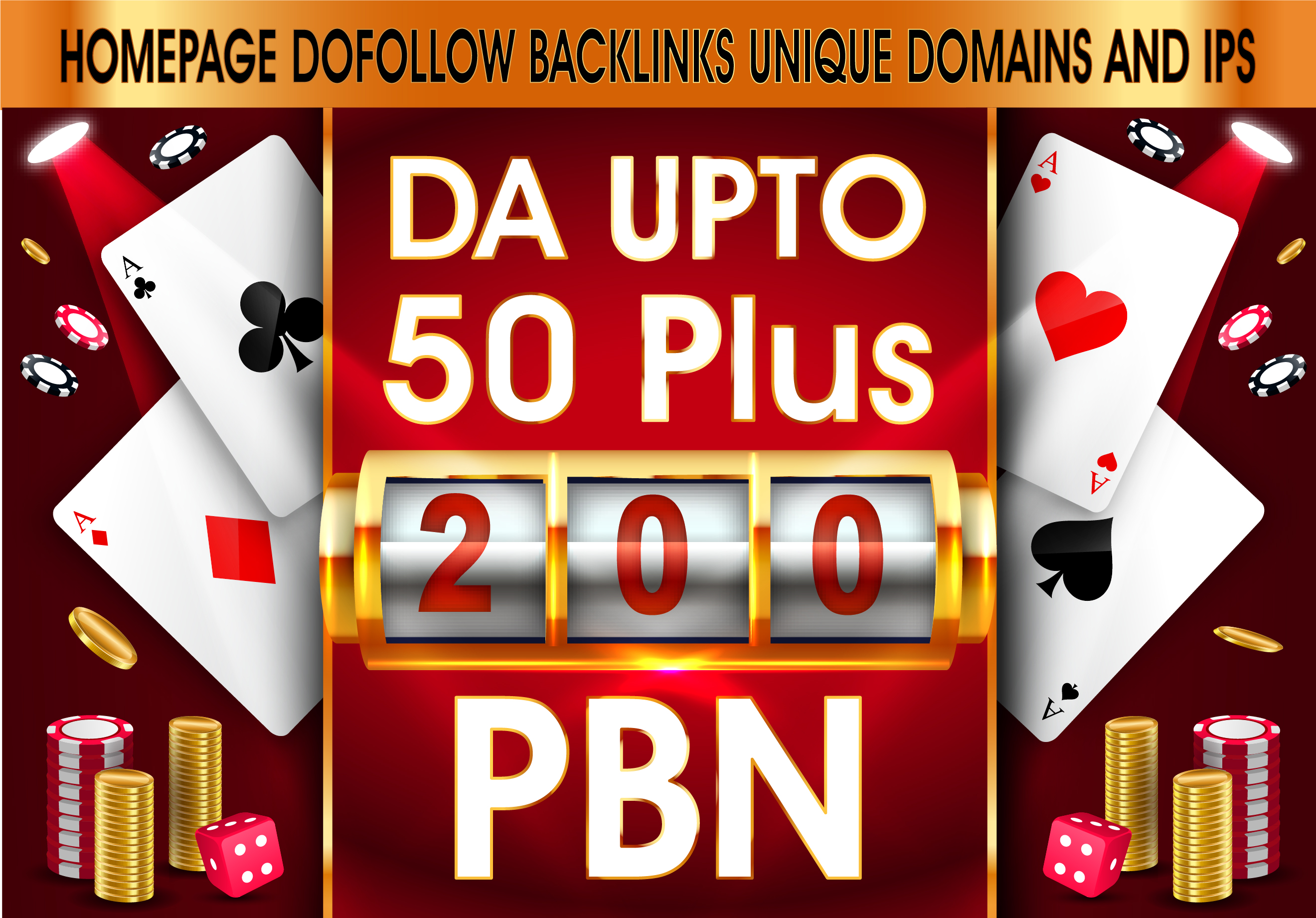Do 200 PBN DA UPTO 50+Homepage DoFollow Links for Casino,  Poker