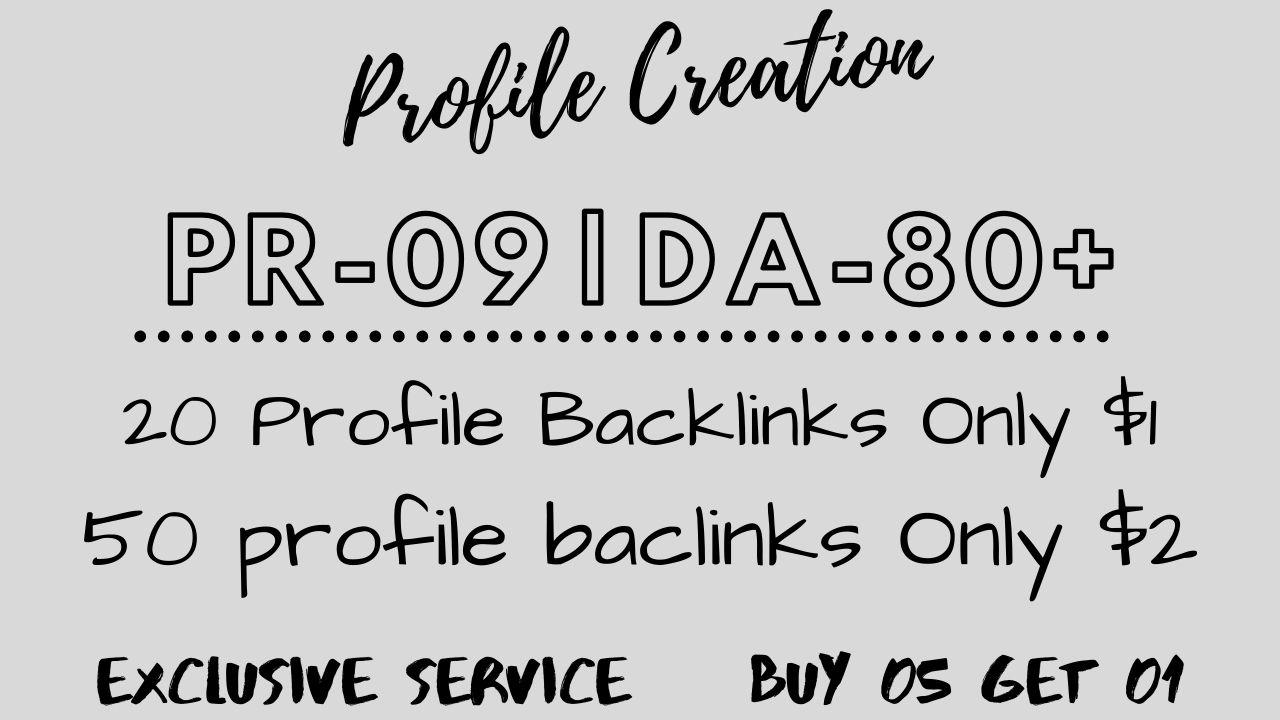Manually Profile backlinks SEO Linkbuilding in pr 09 & da 80+ domain