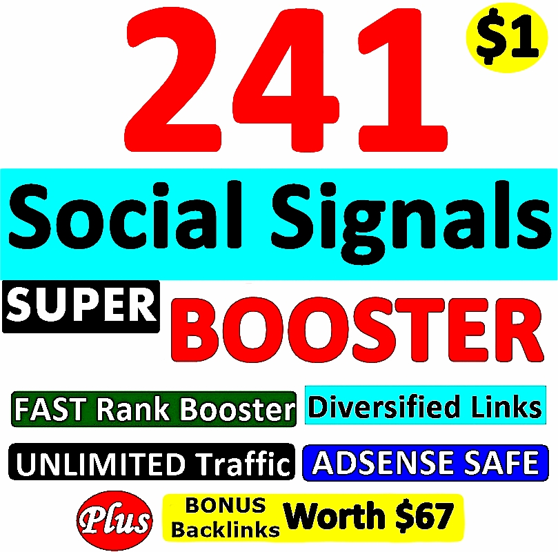 241 SUPER BOOSTER SOCIAL SIGNAL Backlinks- Verified A...