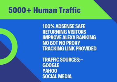 Send 5000+ Human Traffic by Google Bing Yahoo etc