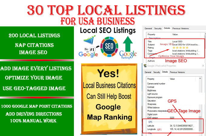 I will do 30 live local listings for USA local business ranking