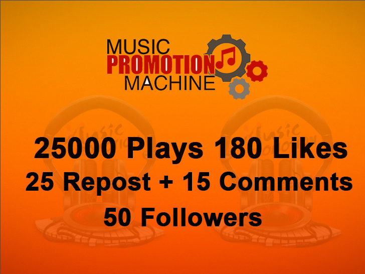 Music Promotion 25000 Play 180 Laikes 25 Repost 15 Comments 50 Folowers