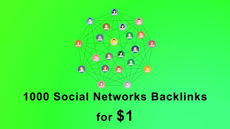 Build 1000 Social Networks SEO backlinks link building service
