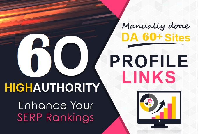 Get TOP 60 DA60+ HQ Profile Backlinks to increase SERP SEO WEB Ranking