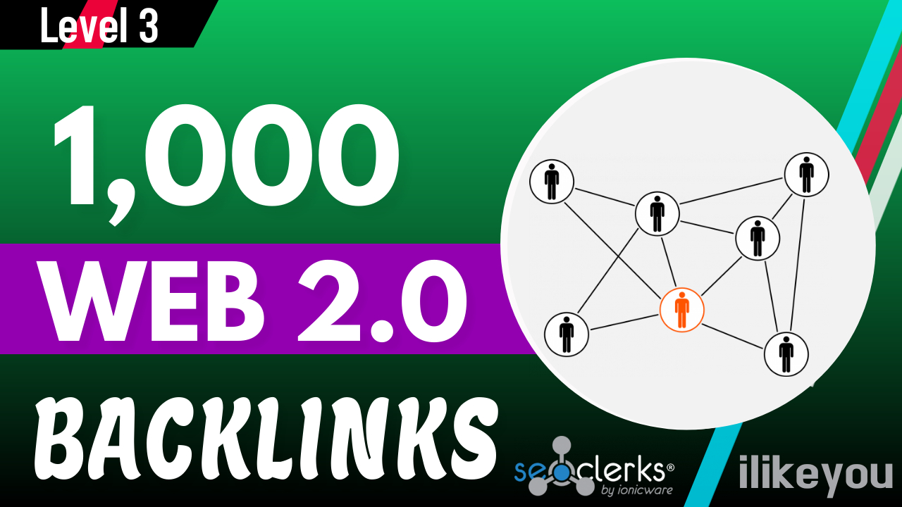 High Quality Premium 1000 Web 2.0 Backlinks Help To Rank Website Google First Page