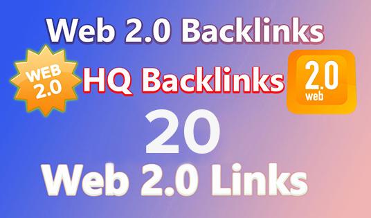 Get Unique 20 high PR Web 2.0 Backlinkes