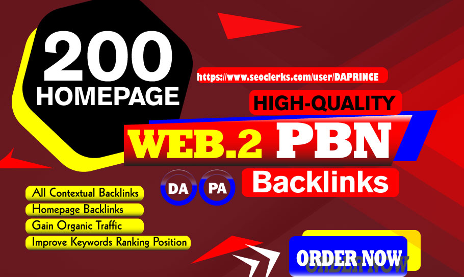 200 Homepage WEB PBN Dofollow Backlinks On High DA PA Domain Blog