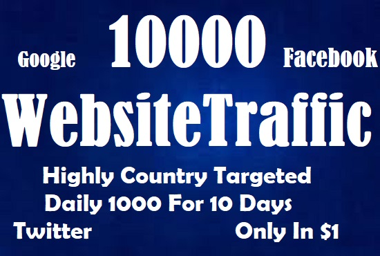 10000 Real Active Country Targeted Website Traffic For 10 Days