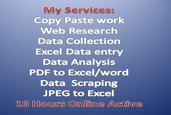 I Will High Quality Data Entry, data collection& Web Research Ms Excel 16 Hours