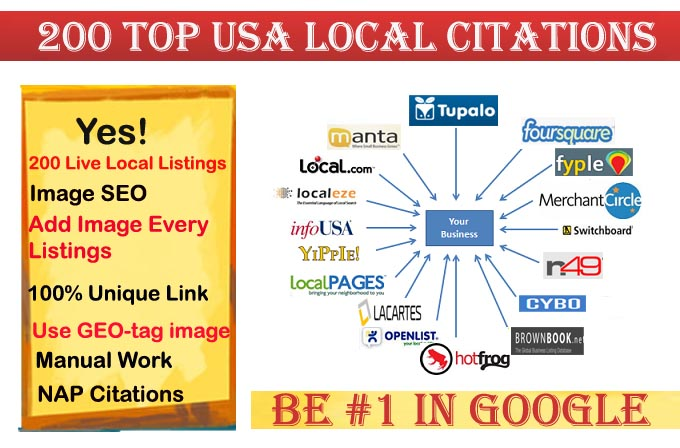 I will do 200 local listings for USA local business ranking