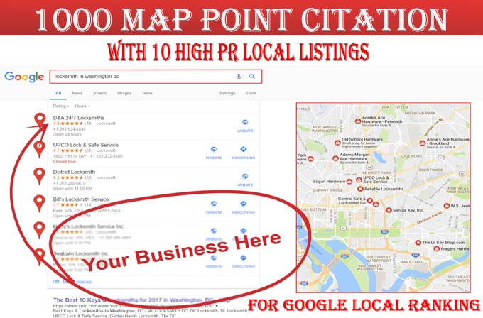 I will do 1000 google map point citations with 10 local listings for any country