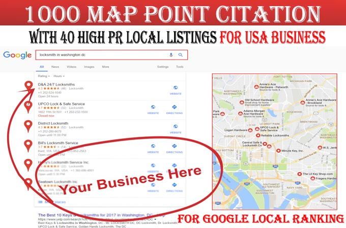 I will do 1000 google map point citations with 40 local listings for USA local business ranking