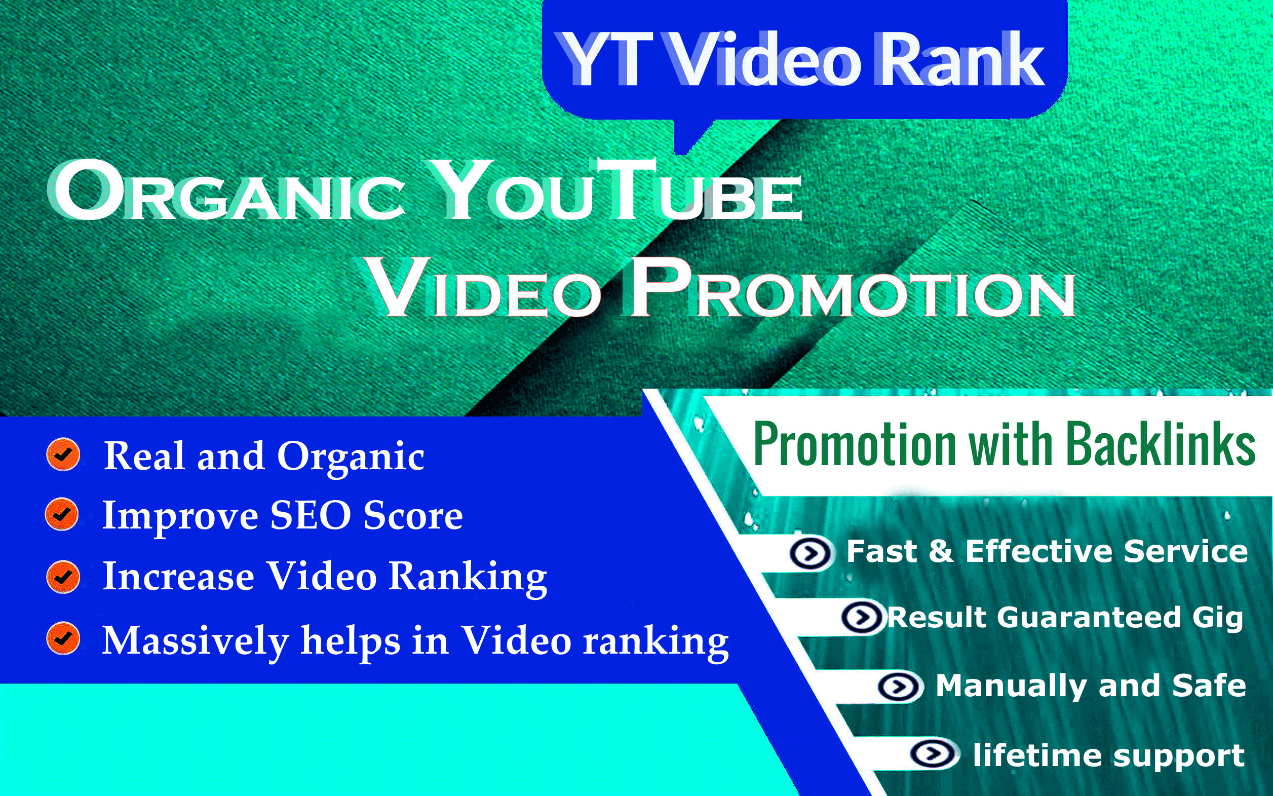 I will do organic youtube video promotion with backlinks and SEO