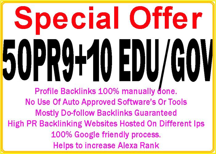Get 50 Pr9 with 10 Edu/Gov high DA/PA safe google friendly seo backlinks