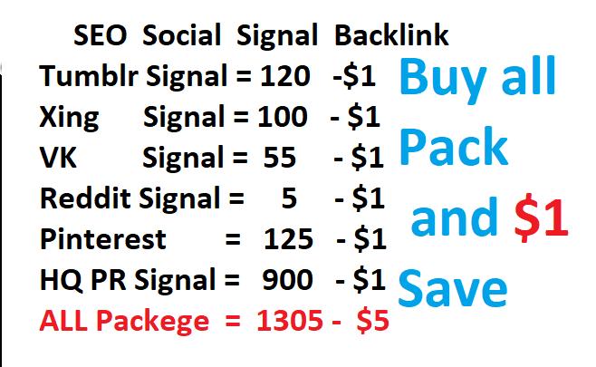 120 Tumblr OR 900 HQ Pr signal OR 100 Xing or 150 Pinterest OR 5 Reddit social signals BACKLINK