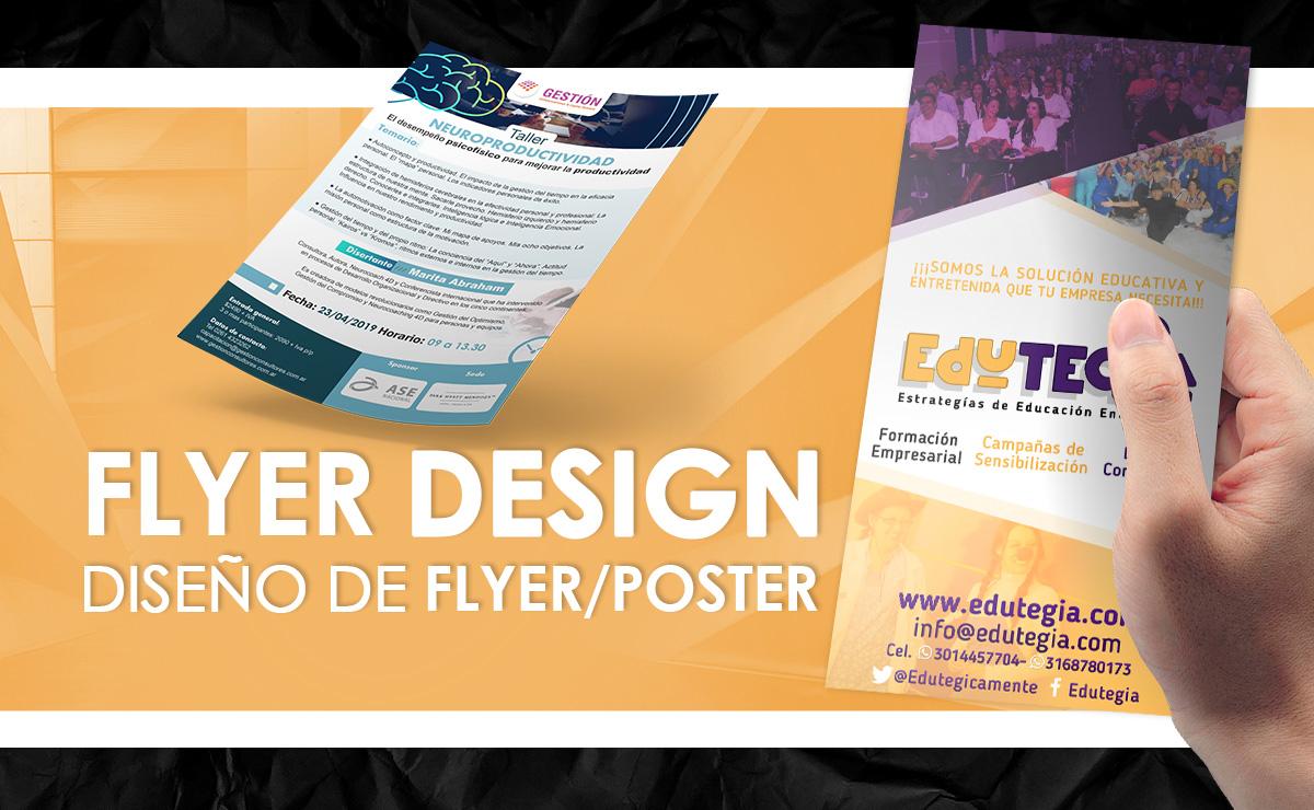 I will design your poster or flyer in spanish or english / Españ ol o Ingles