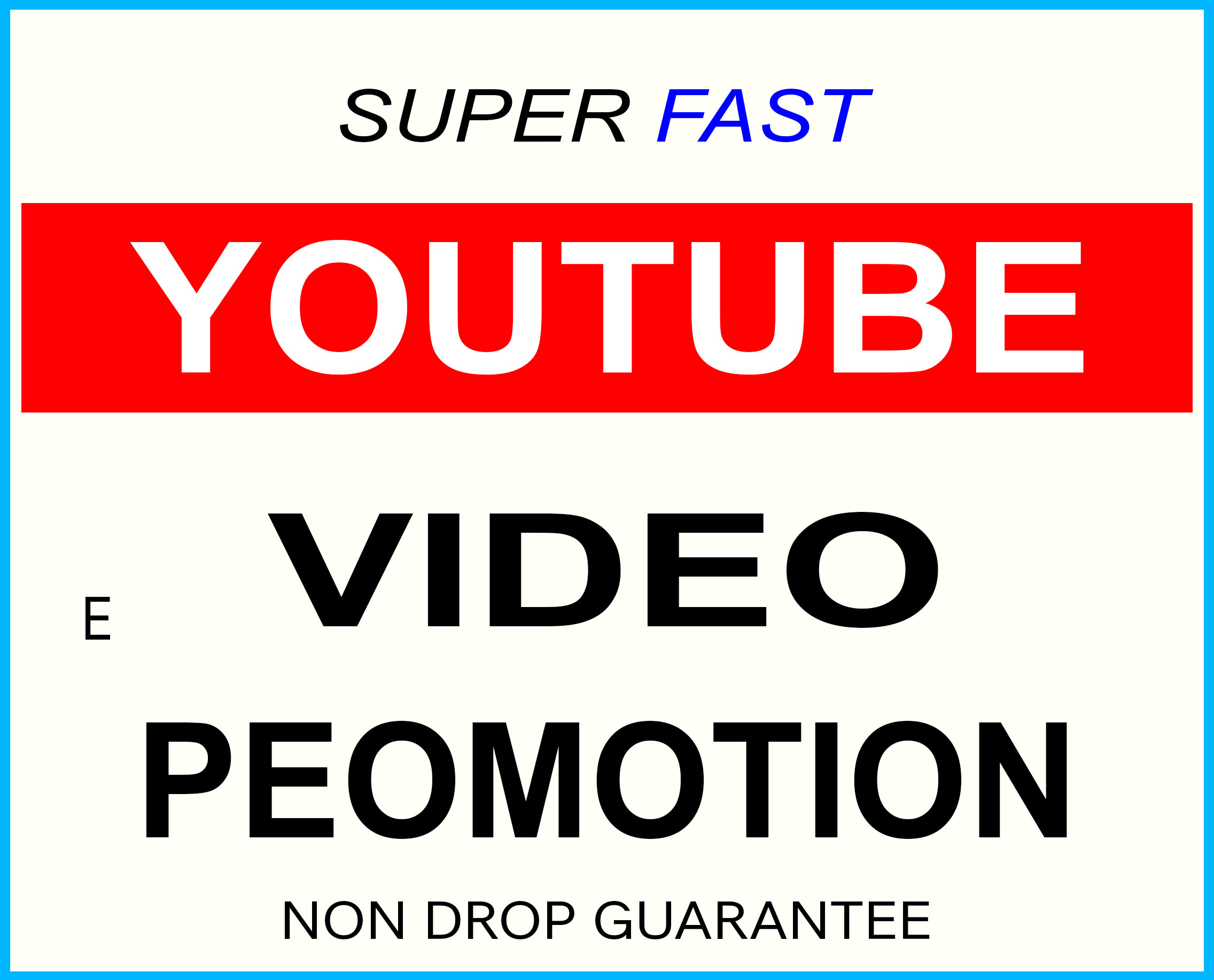 YOUTUBE VIDEO PROMOTION,  NON DROP AND HIGH QUALITY WITH FAST INSTANT START
