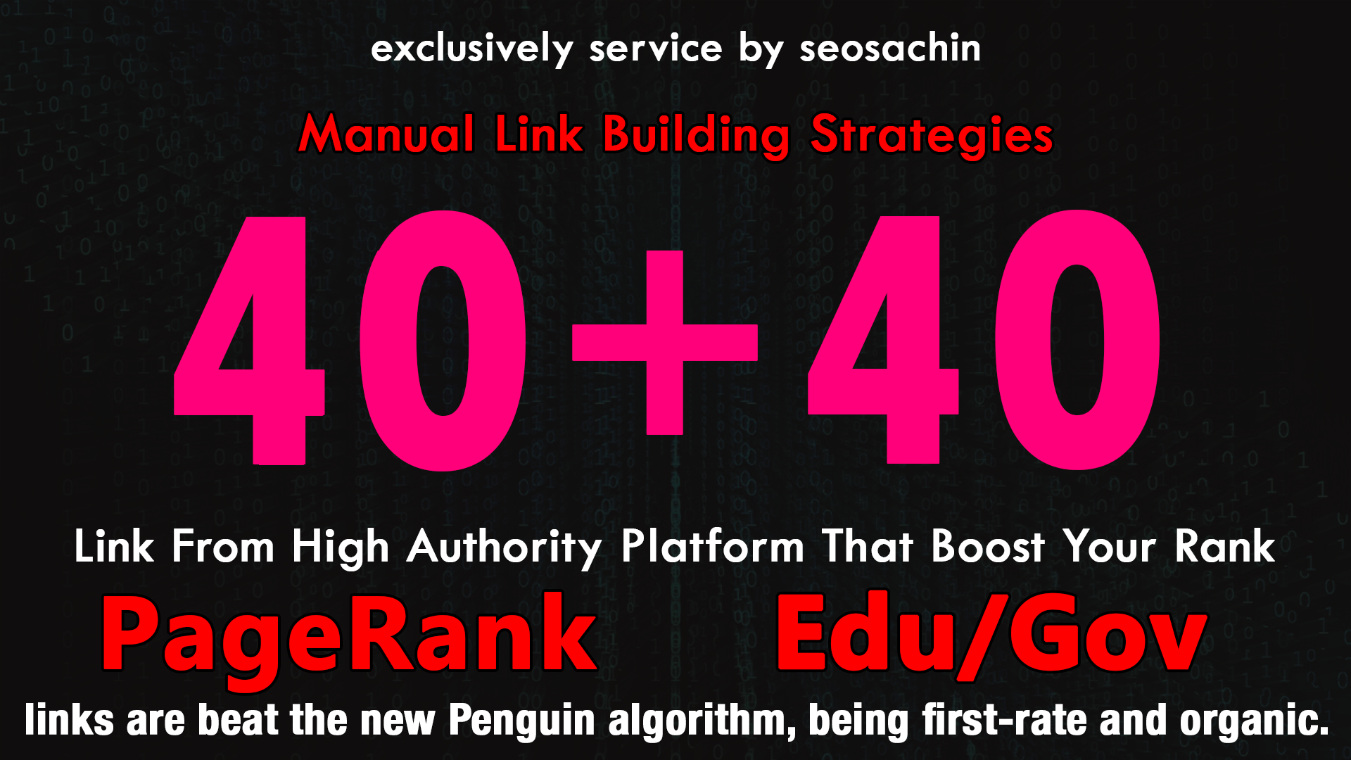 Skyrocket Your Google Rankings, With 40 PR9 + 40 EDU GOV Permanent Backlinking